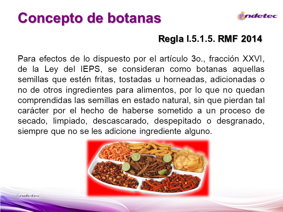 Concepto de botanas Regla I.5.1.5. RMF 2014