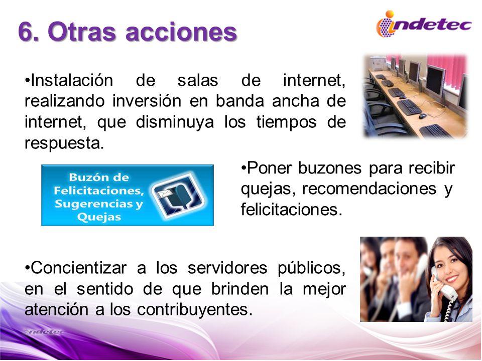 6. Otras acciones Instalación de salas de internet, realizando inversión en banda ancha de internet, que disminuya los tiempos de respuesta.