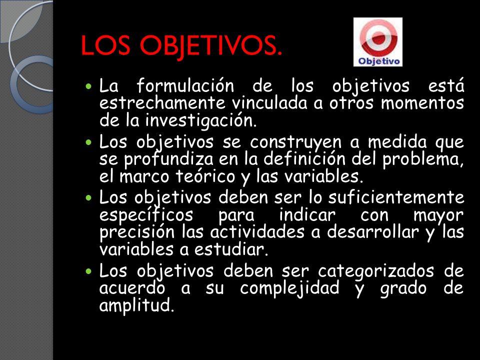 LOS OBJETIVOS. La formulación de los objetivos está estrechamente vinculada a otros momentos de la investigación.