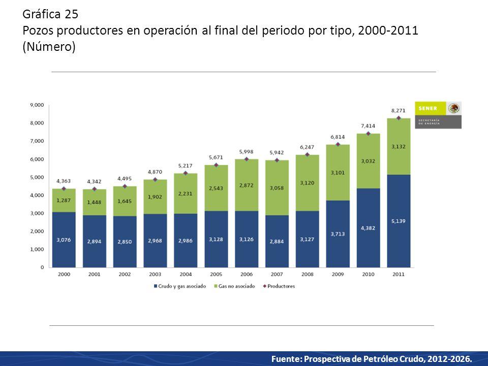 Gráfica 25 Pozos productores en operación al final del periodo por tipo, 2000-2011 (Número)