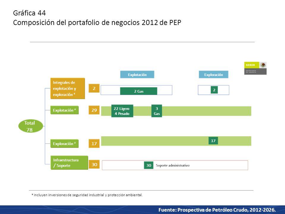 Gráfica 44 Composición del portafolio de negocios 2012 de PEP