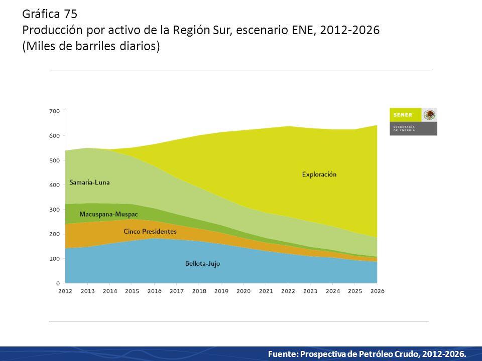Gráfica 75 Producción por activo de la Región Sur, escenario ENE, 2012-2026 (Miles de barriles diarios)