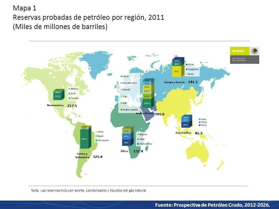 Mapa 1 Reservas probadas de petróleo por región, 2011 (Miles de millones de barriles)