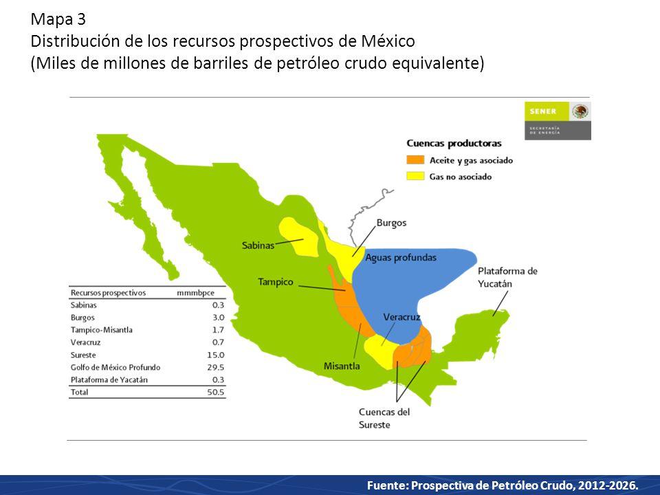 Mapa 3 Distribución de los recursos prospectivos de México (Miles de millones de barriles de petróleo crudo equivalente)