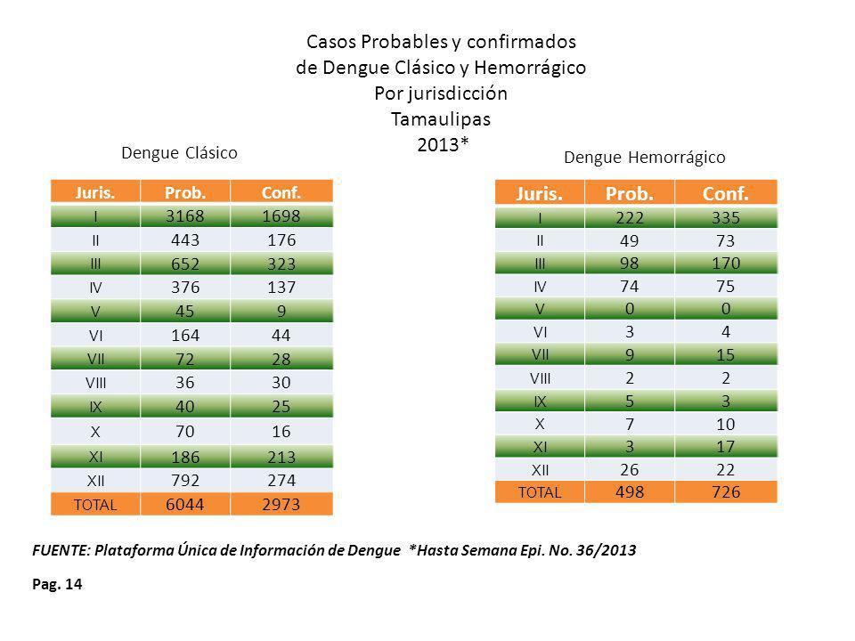 Casos Probables y confirmados de Dengue Clásico y Hemorrágico
