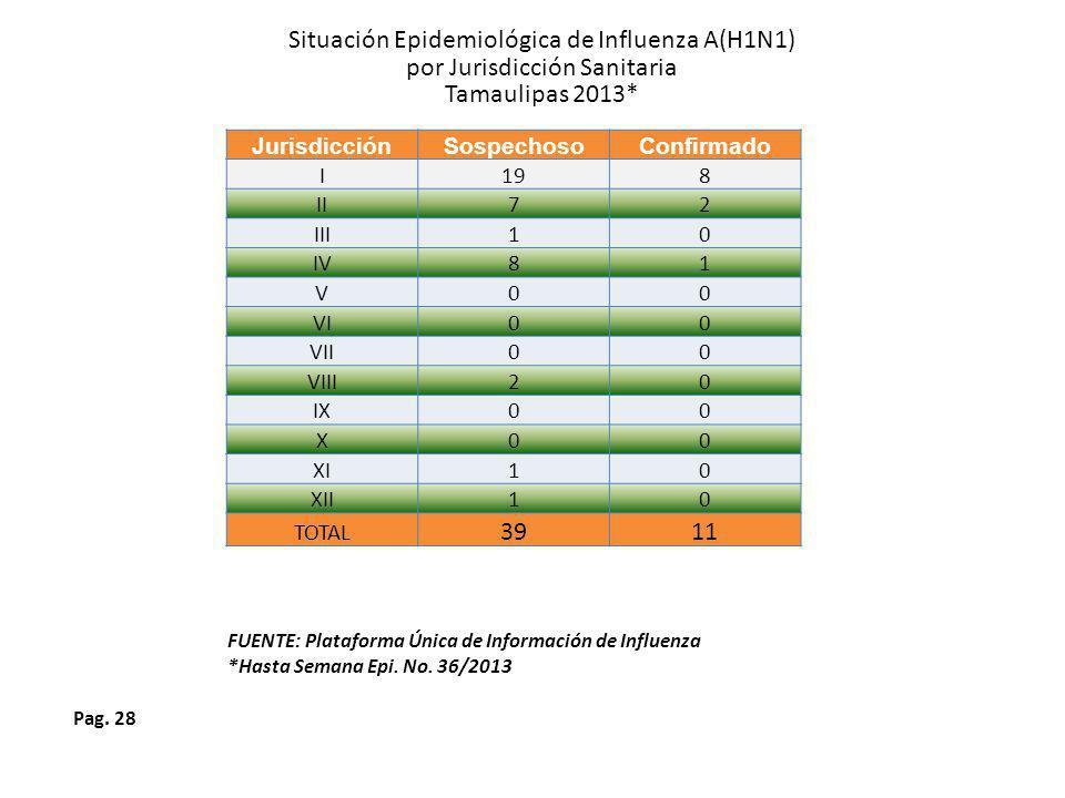 Situación Epidemiológica de Influenza A(H1N1)
