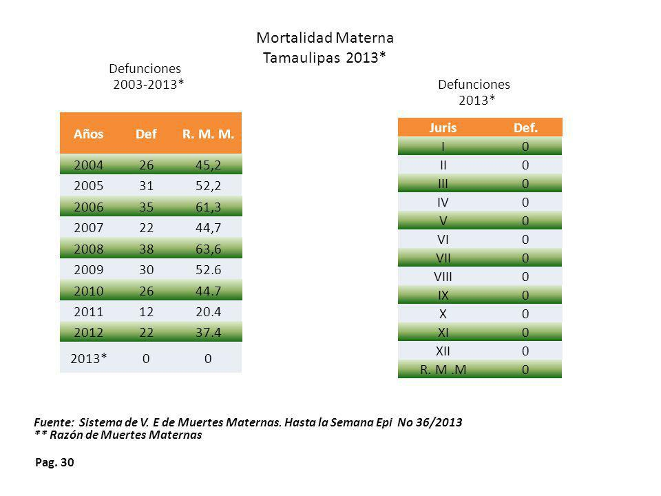 Mortalidad Materna Tamaulipas 2013* Defunciones 2003-2013* Defunciones