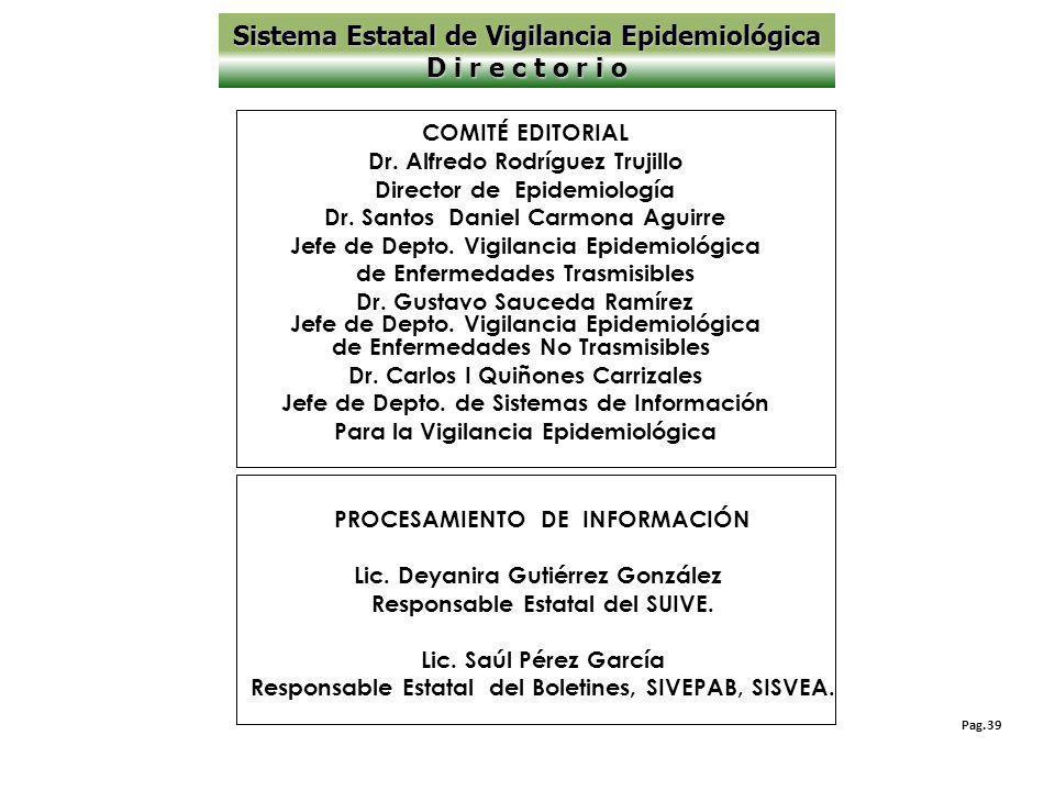 Sistema Estatal de Vigilancia Epidemiológica D i r e c t o r i o