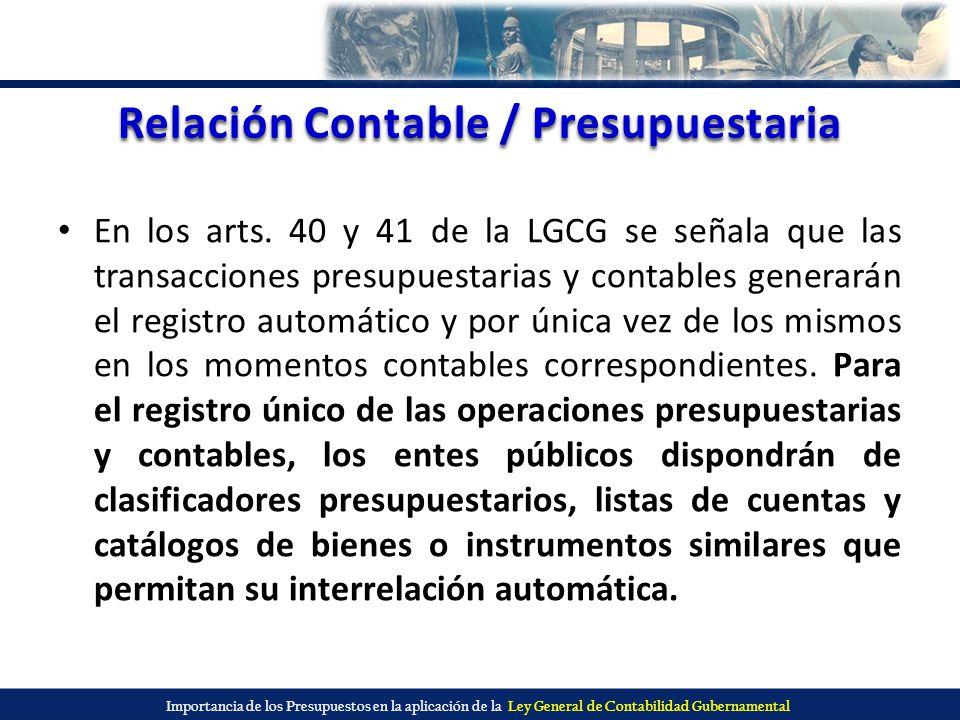 Relación Contable / Presupuestaria