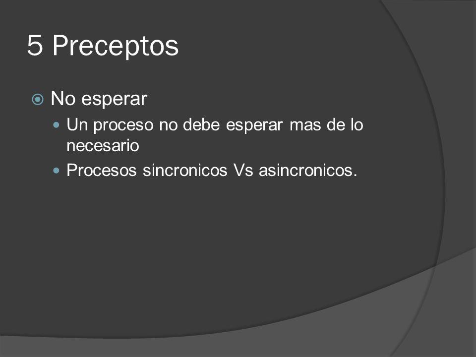 5 Preceptos No esperar Un proceso no debe esperar mas de lo necesario
