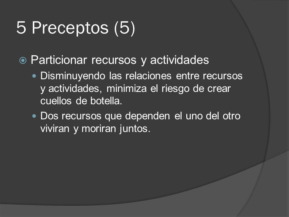 5 Preceptos (5) Particionar recursos y actividades