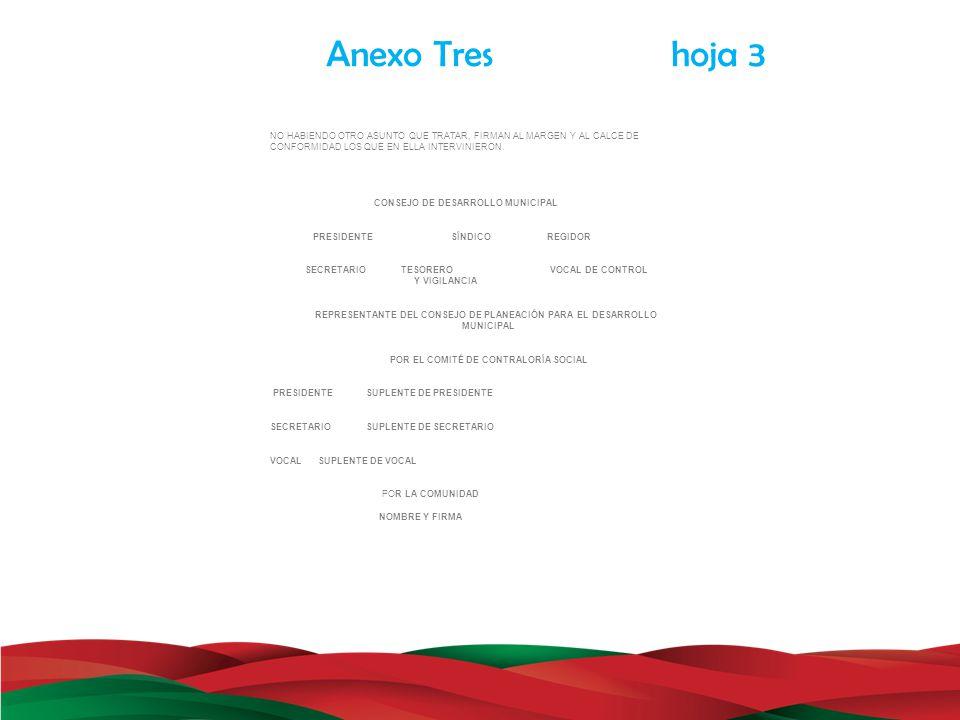 Anexo Tres hoja 3 NO HABIENDO OTRO ASUNTO QUE TRATAR, FIRMAN AL MARGEN Y AL CALCE DE.