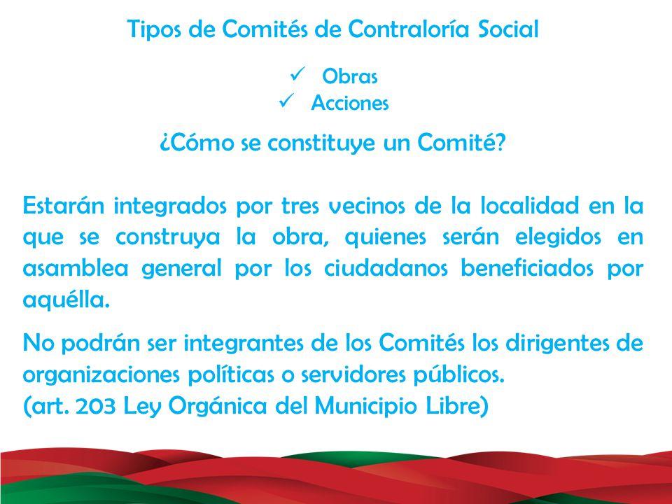 Tipos de Comités de Contraloría Social