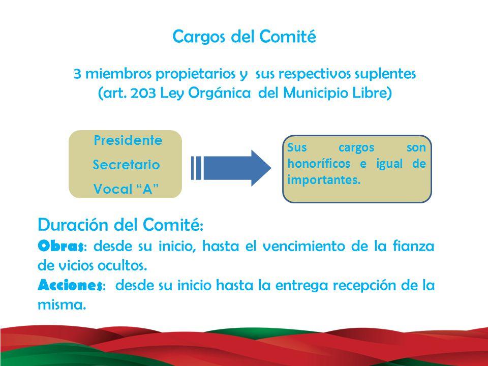 Cargos del Comité Duración del Comité: