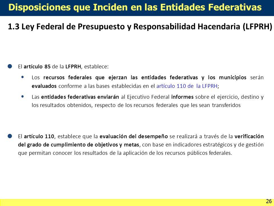 Disposiciones que Inciden en las Entidades Federativas