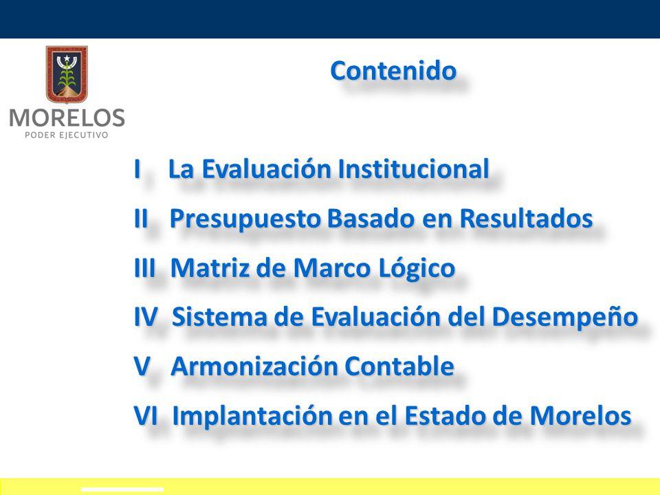 Contenido I La Evaluación Institucional. II Presupuesto Basado en Resultados. III Matriz de Marco Lógico.