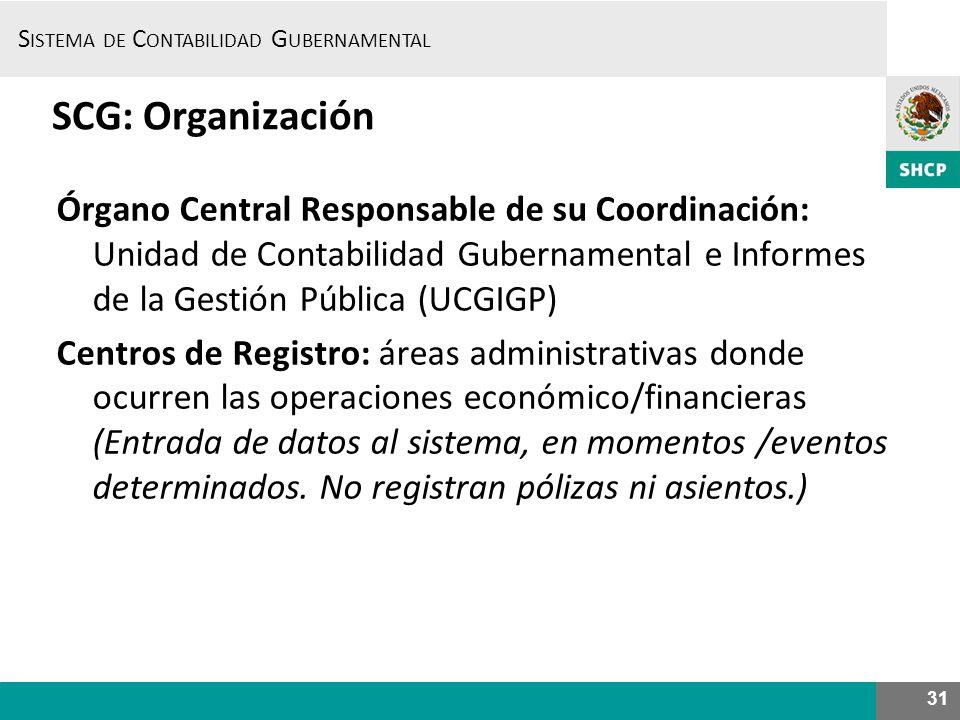 SCG: Organización Órgano Central Responsable de su Coordinación: Unidad de Contabilidad Gubernamental e Informes de la Gestión Pública (UCGIGP)