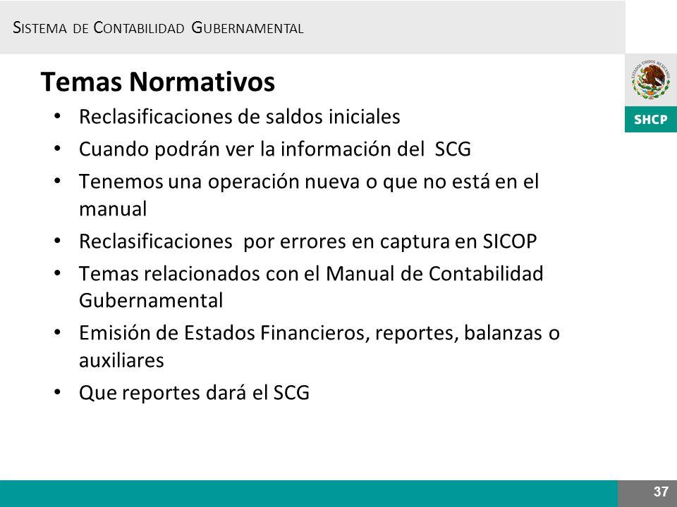 Temas Normativos Reclasificaciones de saldos iniciales