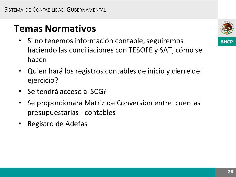Temas Normativos Si no tenemos información contable, seguiremos haciendo las conciliaciones con TESOFE y SAT, cómo se hacen.