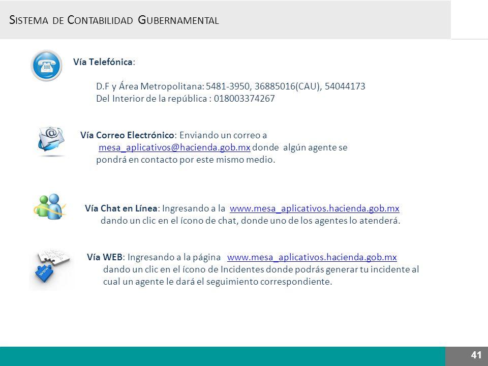 Vía Telefónica: D.F y Área Metropolitana: 5481-3950, 36885016(CAU), 54044173 Del Interior de la república : 018003374267 Vía Correo Electrónico: Enviando un correo a mesa_aplicativos@hacienda.gob.mx donde algún agente se pondrá en contacto por este mismo medio.