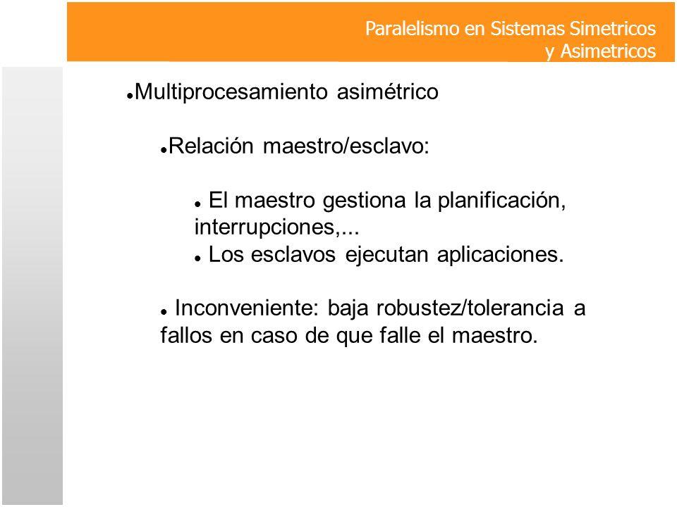 Multiprocesamiento asimétrico Relación maestro/esclavo: