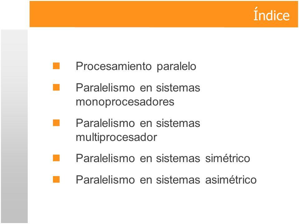 Índice Procesamiento paralelo Paralelismo en sistemas monoprocesadores