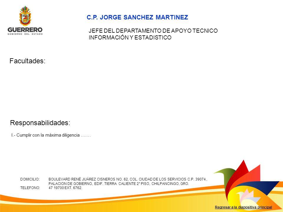 Facultades: Responsabilidades: C.P. JORGE SANCHEZ MARTINEZ