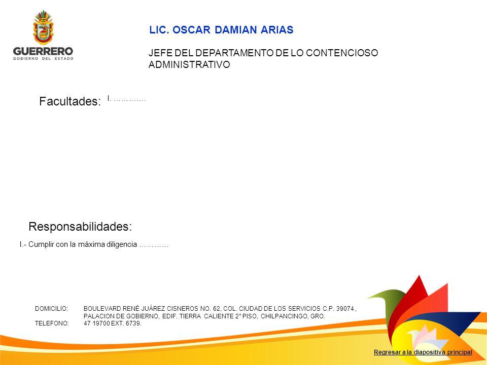 Facultades: Responsabilidades: LIC. OSCAR DAMIAN ARIAS