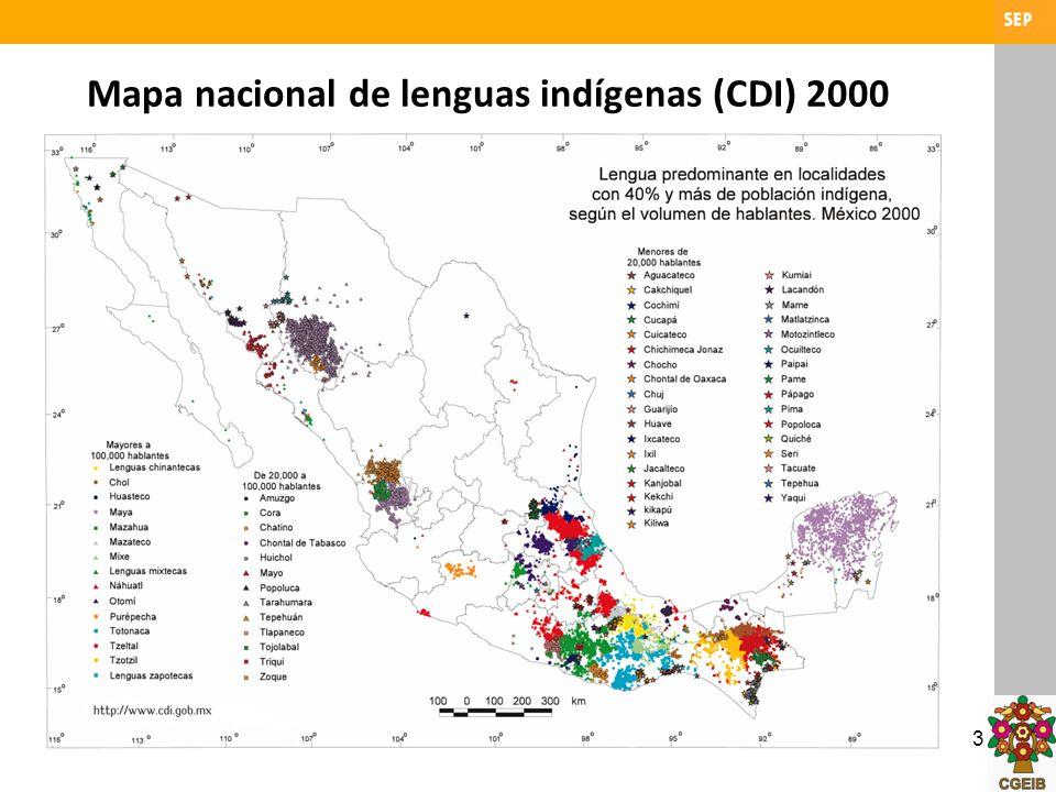 Mapa nacional de lenguas indígenas (CDI) 2000