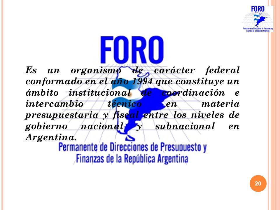 Es un organismo de carácter federal conformado en el año 1994 que constituye un ámbito institucional de coordinación e intercambio técnico en materia presupuestaria y fiscal entre los niveles de gobierno nacional y subnacional en Argentina.