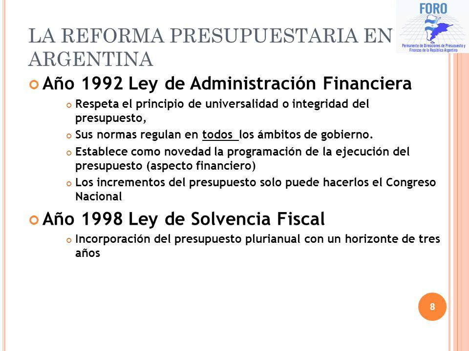 LA REFORMA PRESUPUESTARIA EN ARGENTINA
