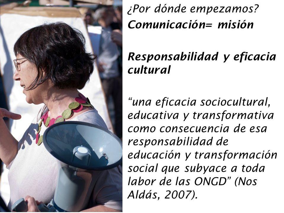 ¿Por dónde empezamos Comunicación= misión. Responsabilidad y eficacia cultural.