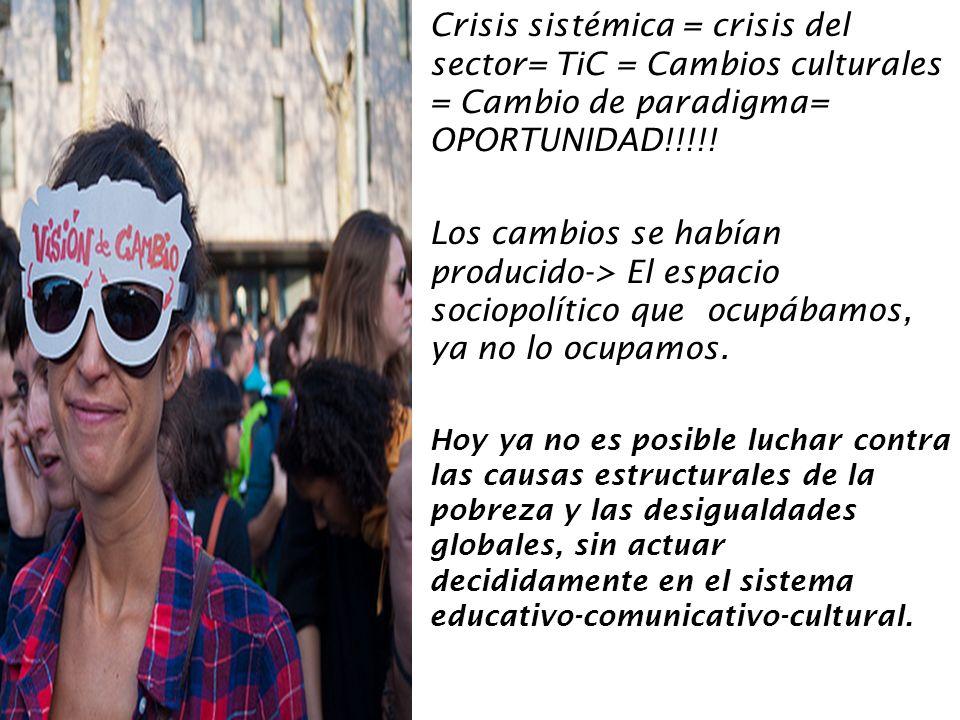 Crisis sistémica = crisis del sector= TiC = Cambios culturales = Cambio de paradigma= OPORTUNIDAD!!!!!