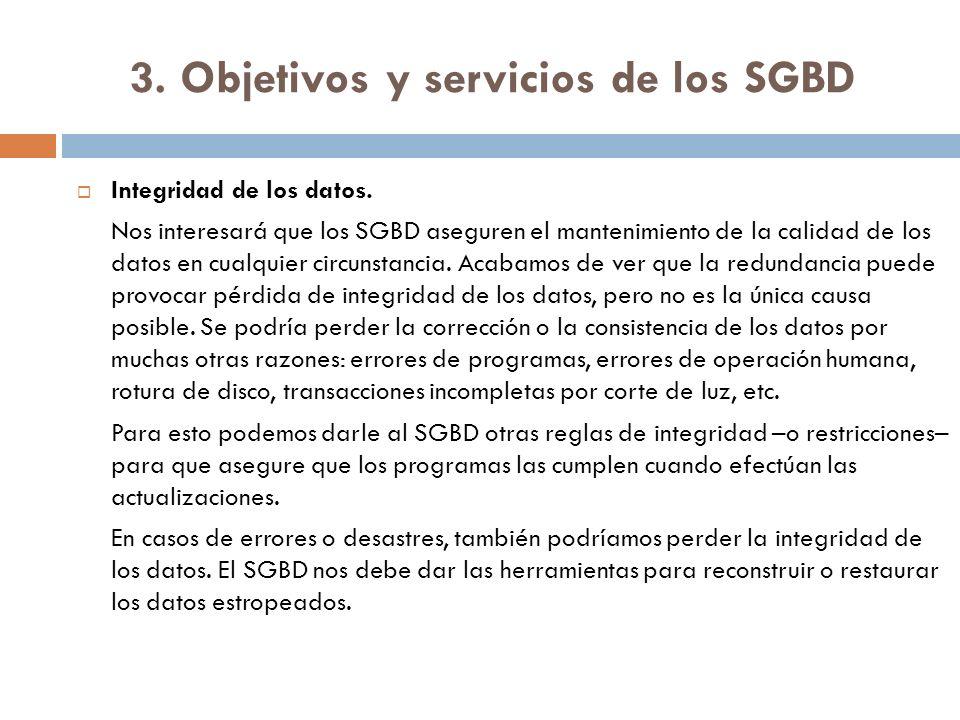 3. Objetivos y servicios de los SGBD