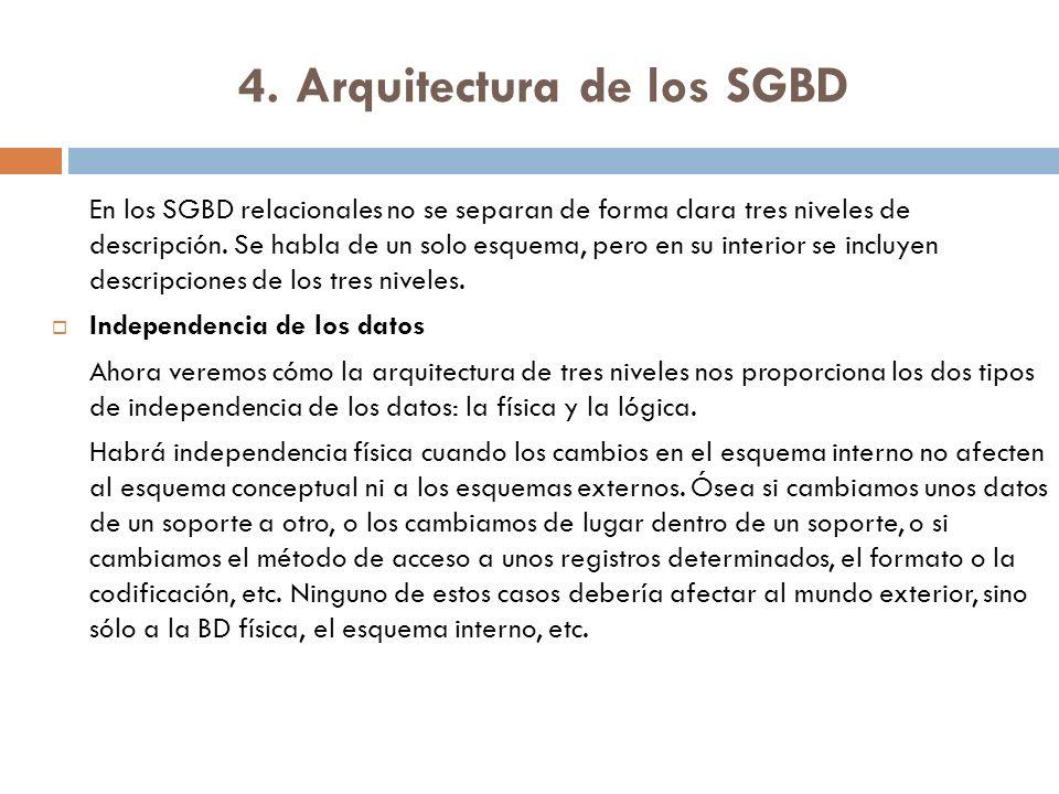 4. Arquitectura de los SGBD