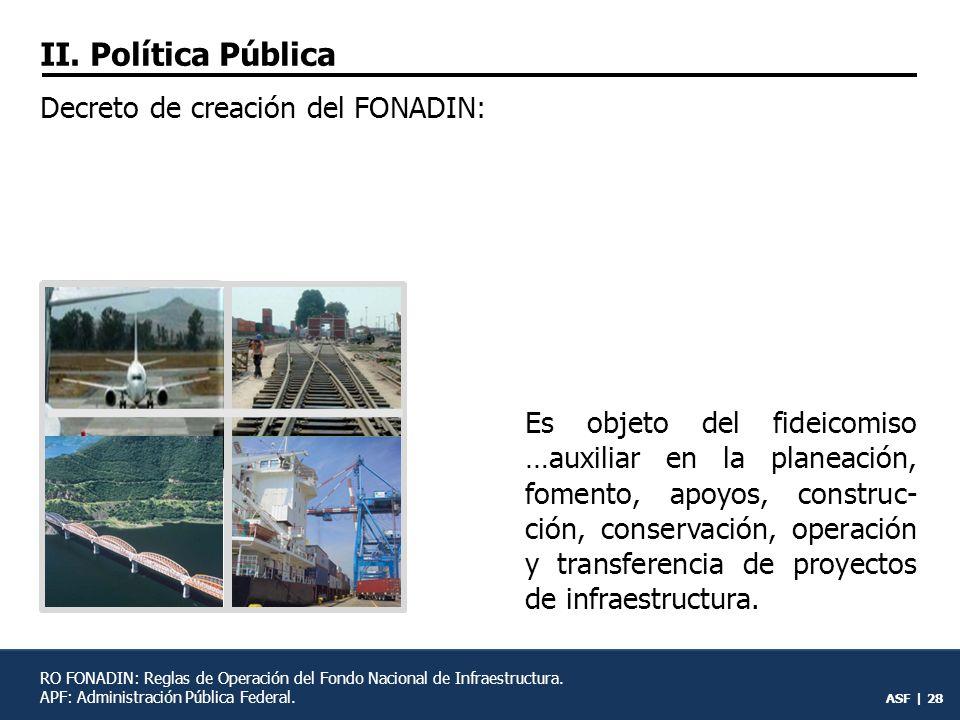 II. Política Pública Decreto de creación del FONADIN: