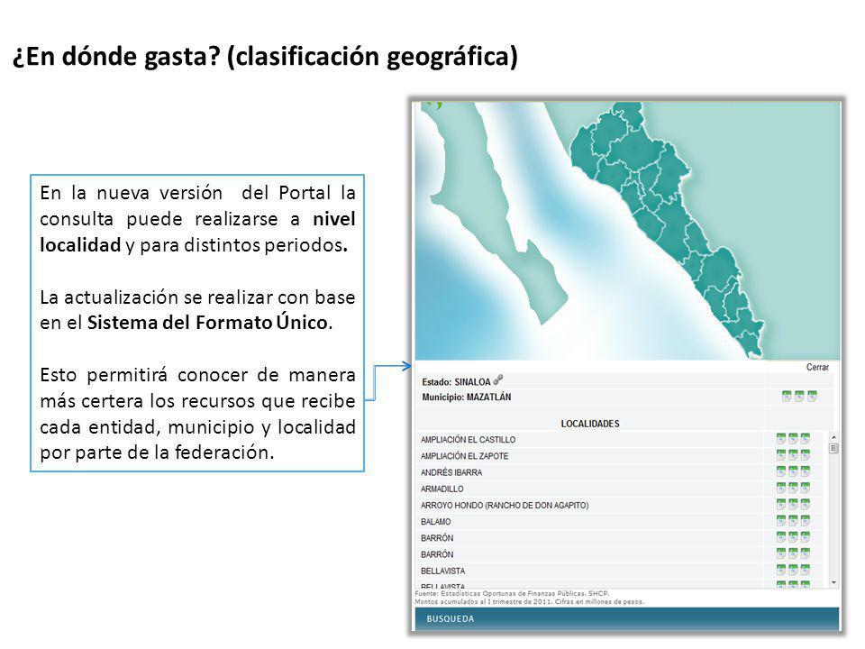 ¿En dónde gasta (clasificación geográfica)