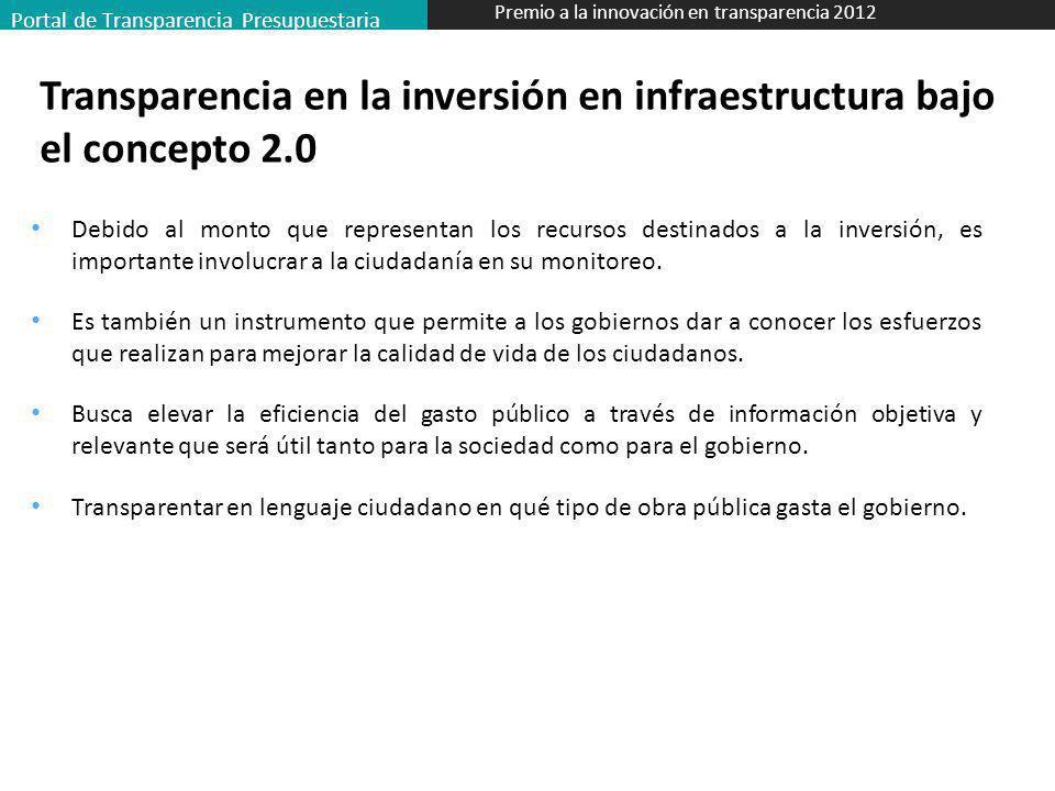 Transparencia en la inversión en infraestructura bajo el concepto 2.0