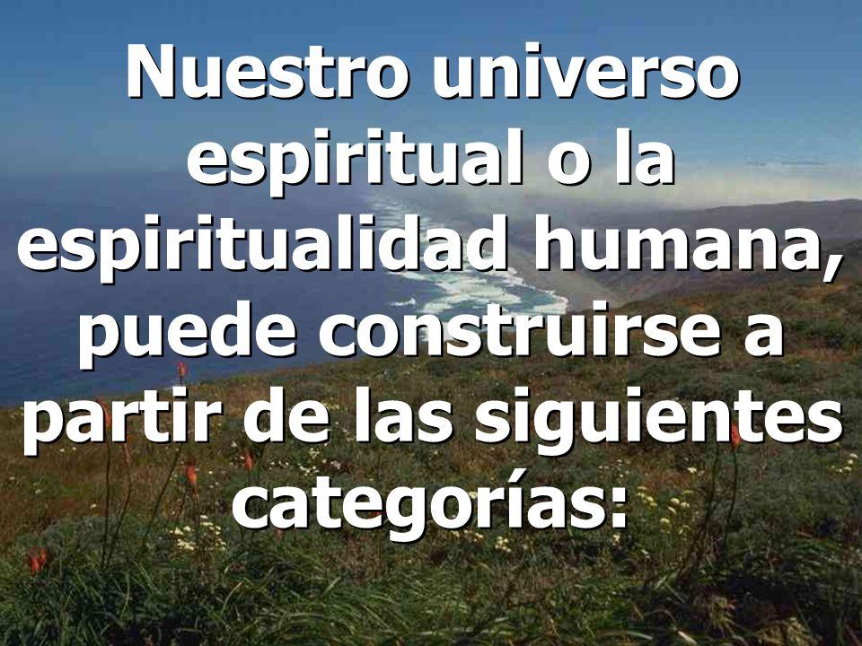 Nuestro universo espiritual o la espiritualidad humana, puede construirse a partir de las siguientes categorías: