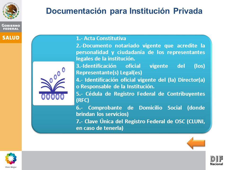 Documentación para Institución Privada