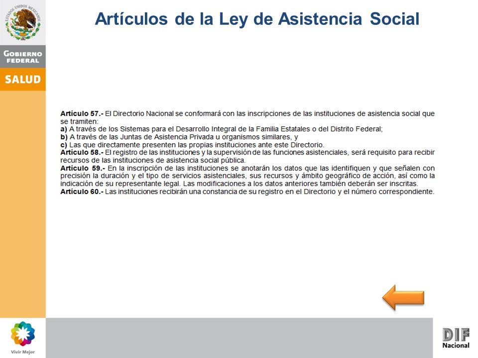 Artículos de la Ley de Asistencia Social