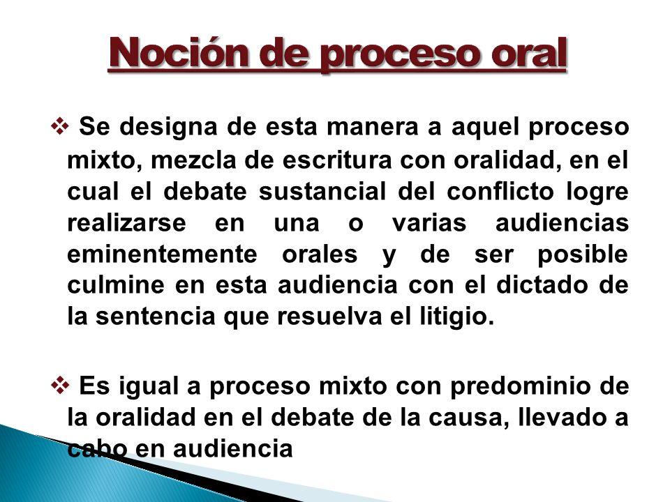 Noción de proceso oral