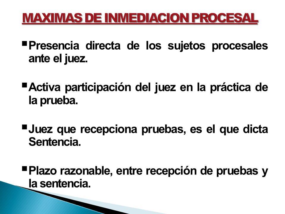 MAXIMAS DE INMEDIACION PROCESAL