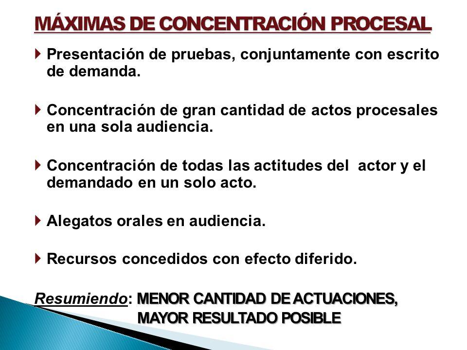 MÁXIMAS DE CONCENTRACIÓN PROCESAL