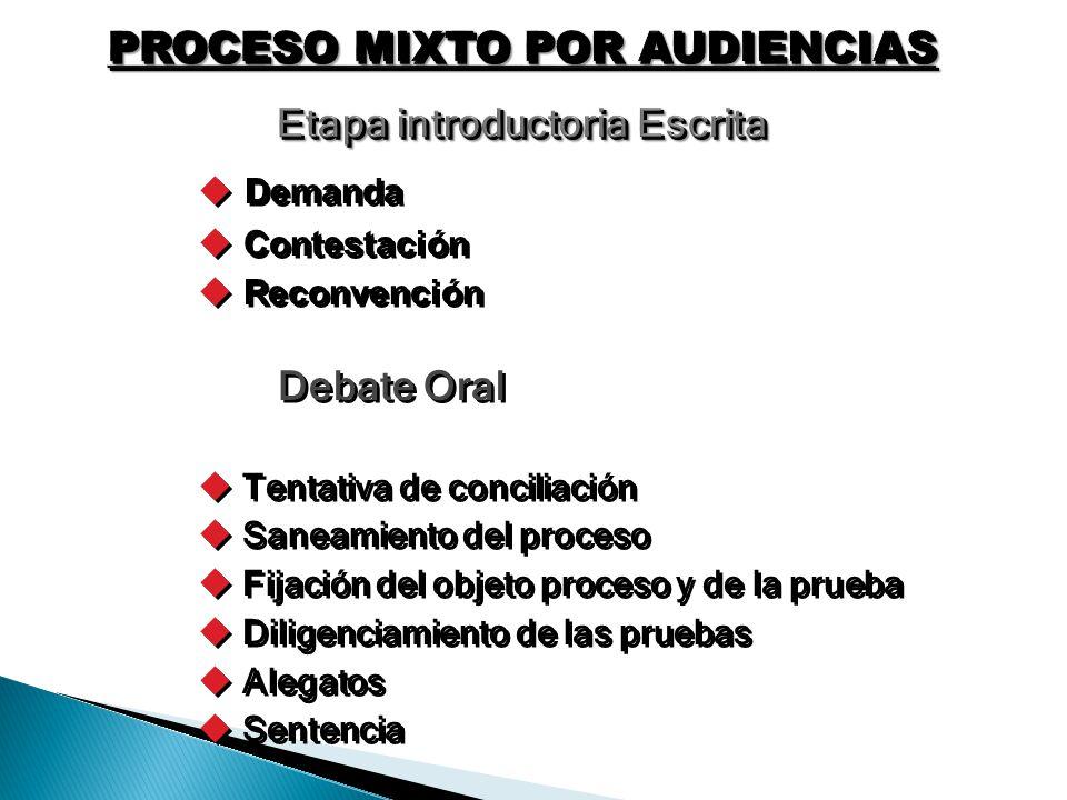 PROCESO MIXTO POR AUDIENCIAS Etapa introductoria Escrita