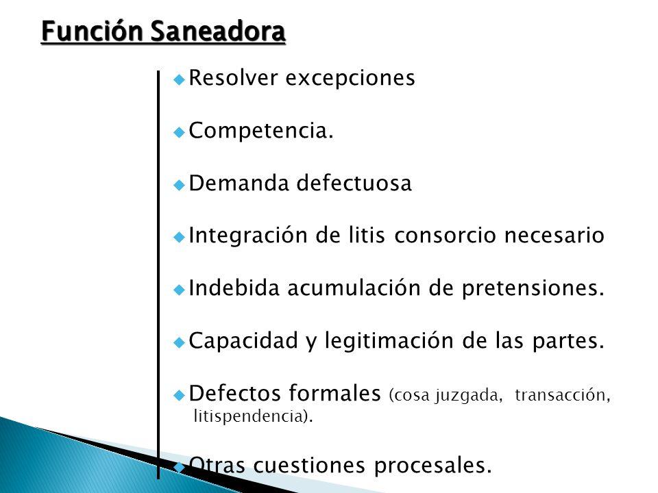 Función Saneadora Resolver excepciones Competencia. Demanda defectuosa