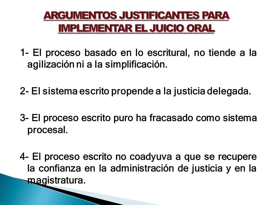 ARGUMENTOS JUSTIFICANTES PARA IMPLEMENTAR EL JUICIO ORAL