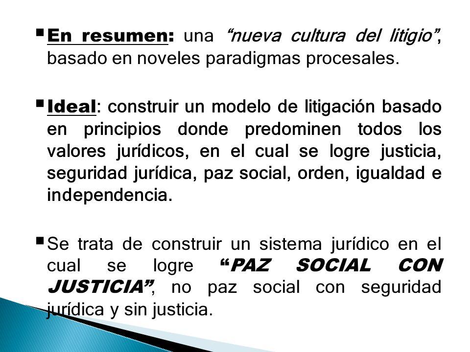 En resumen: una nueva cultura del litigio , basado en noveles paradigmas procesales.