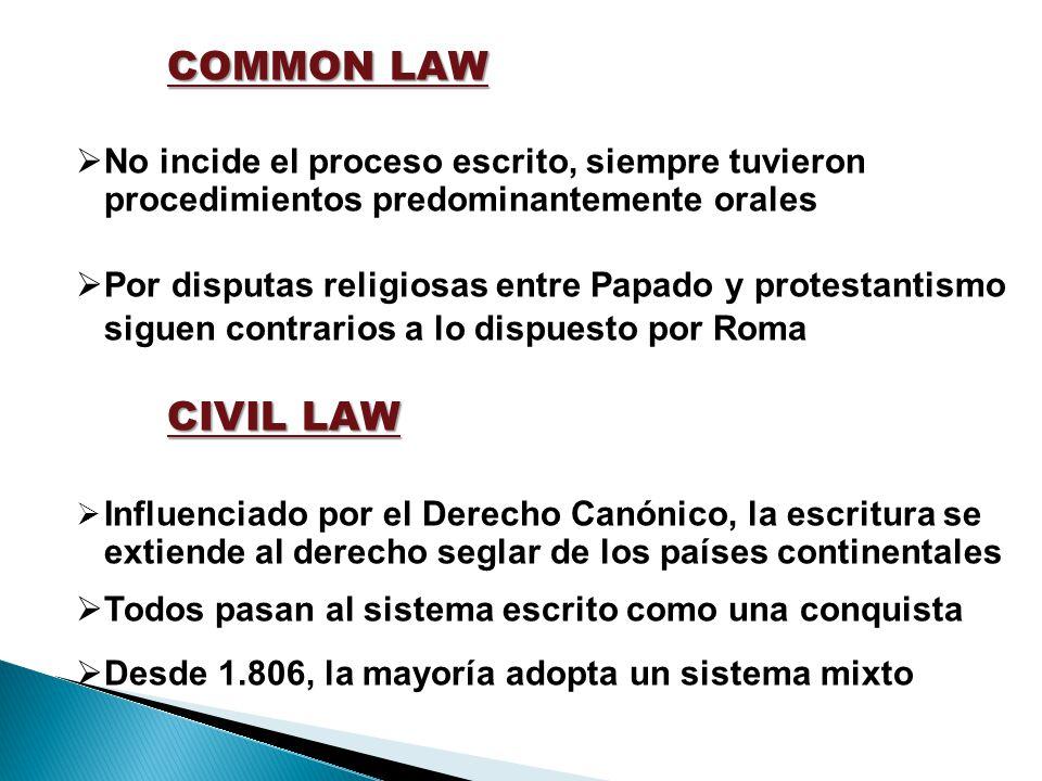 COMMON LAW No incide el proceso escrito, siempre tuvieron procedimientos predominantemente orales.