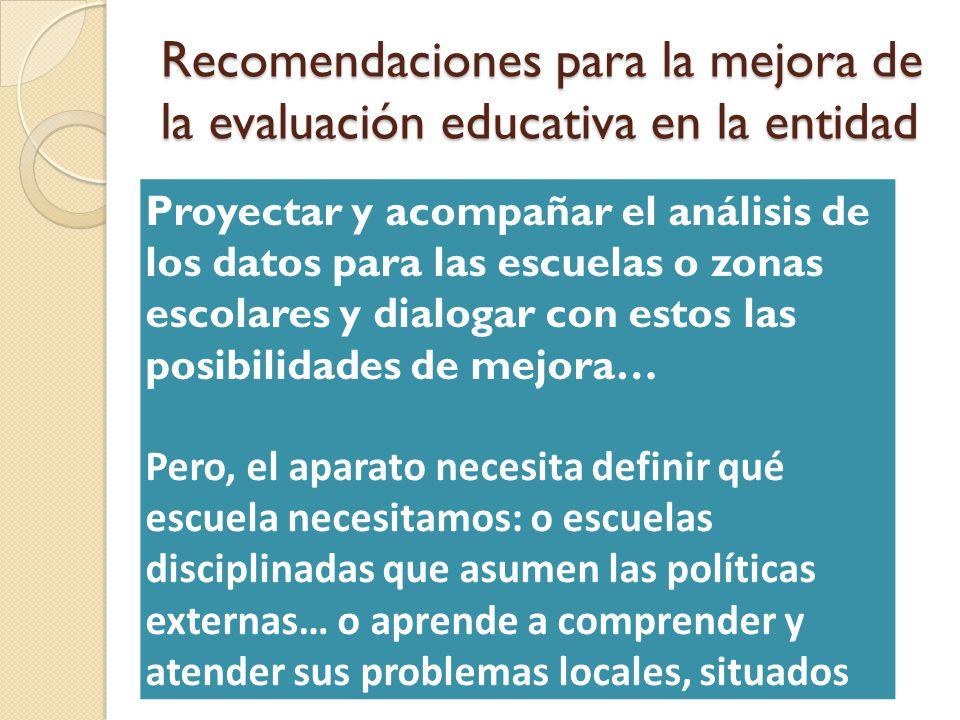 Recomendaciones para la mejora de la evaluación educativa en la entidad